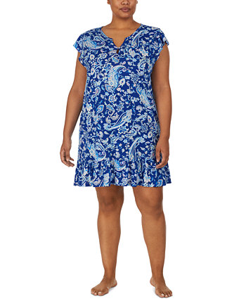 Plus Size Printed Ruffle-Trim Nightgown Ralph Lauren