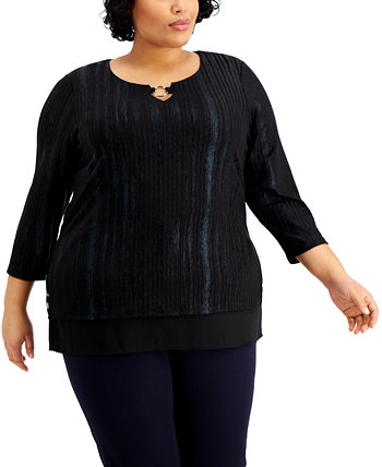 Plus Size Foiled Ribbed Tunic Top, Created for Macy's J&M Collection