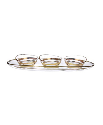 Bowl Relish Dish on Tray with 14K Gold Brick Design Classic Touch