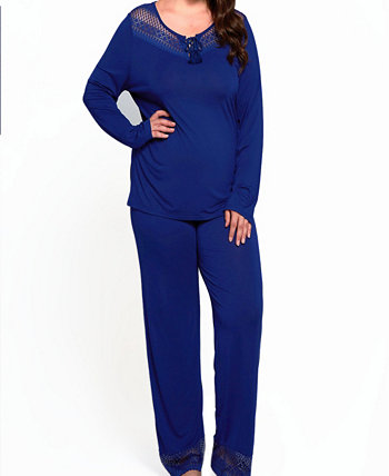 Women's Plus Size Lounge Pant Set Trimmed in Breezy Laced Patterns ICollection