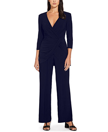 Draped-Front Wide-Leg Jumpsuit Adrianna Papell