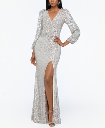 Sequined V-Neck Gown XSCAPE