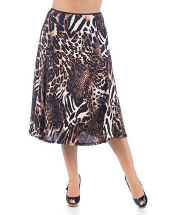Women's Plus Size Animal Print Midi Skirt 24seven Comfort Apparel