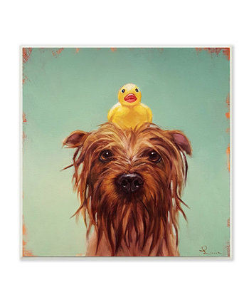 """Wet Dog with A Rubber Ducky Turquoise Bath Painting Wall Plaque Art, 12"""" L x 12"""" H Stupell Industries"""