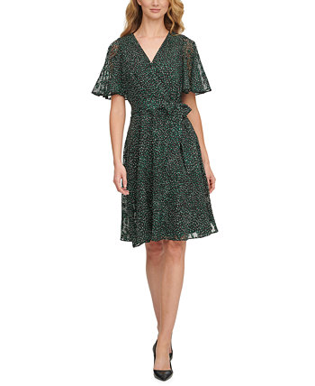 Printed Flutter-Sleeve Fit & Flare Dress DKNY
