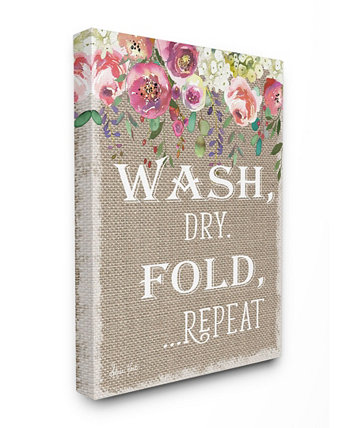 "Floral Linen Wash Dry Fold Canvas Wall Art 12.5"" L x 0.5"" W x 18.5"" H Stupell Industries"