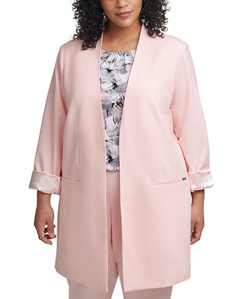 Plus Size Cuffed-Sleeve Topper Jacket Calvin Klein