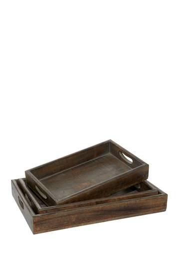Brown Mango Wood Country Cottage Tray - Set of 3 Willow Row