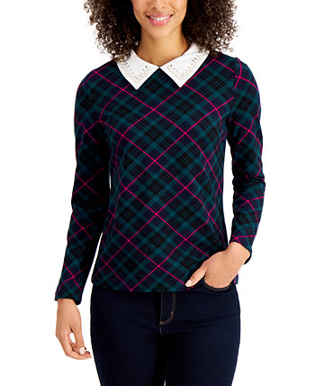 Petite Plaid Embellished-Collar Top, Created for Macy's Charter Club