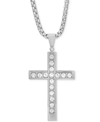 "INC Men's Stainless Steel Cubic Zirconia Cross 24"" Pendant Necklace, Created for Macy's INC International Concepts"