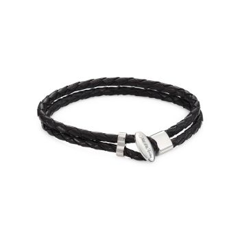 COLLECTION Toggle Braided Leather Bracelet Saks Fifth Avenue
