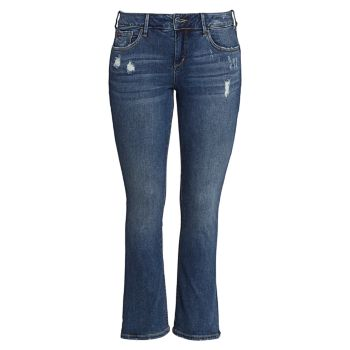 Casey Mid-Rise Distressed Straight Jeans Slink Jeans, Plus Size