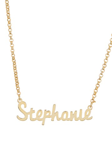 18K Yellow Gold Plated Sterling Silver 'Stephanie' Name Pendant Necklace Argento Vivo