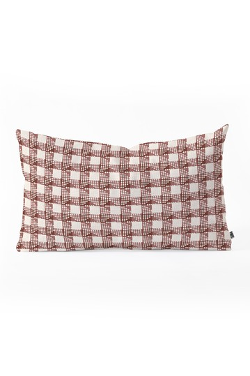 Holli Zollinger Anthology of Pattern Seville Gingham Maroon Oblong Throw Pillow Deny Designs