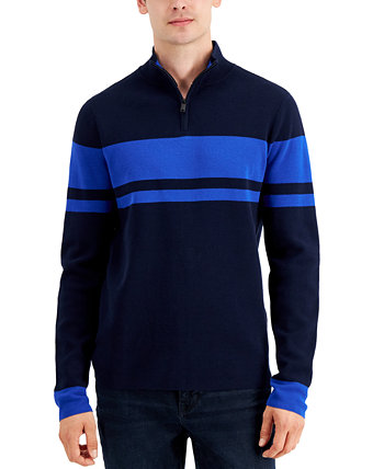 Men's Quarter-Zip Striped Sweater, Created for Macy's DKNY
