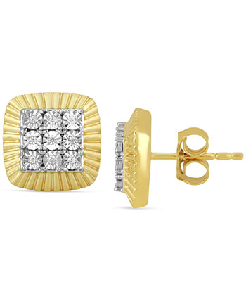Men's Diamond Square Cluster Stud Earrings (1/20 ct. t.w.) in 18k Gold-Plated Sterling Silver Macy's