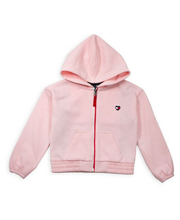 Toddler Girl Fleece Zip Hoodie with Pieced Flag Tommy Hilfiger