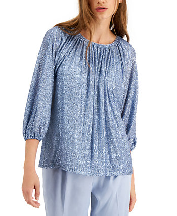 Sequined Tie-Neck Top, Created for Macy's Alfani
