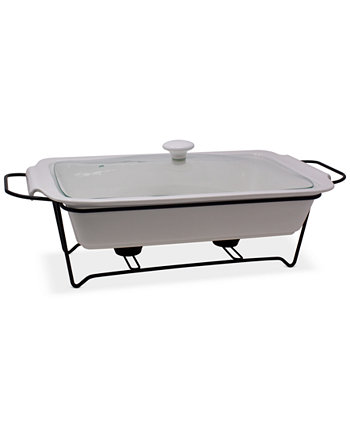 Ceramic Chafing Casserole Server with Glass Lid & Rack Sedona