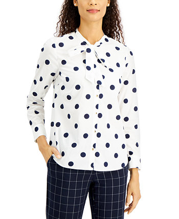 Petite Dot-Print Button-Front Cotton Top, Created for Macy's Charter Club