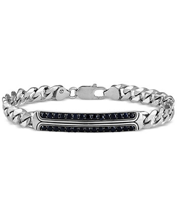 Black Sapphire Curb Link Bracelet (2-3/4 ct. t.w.) in Sterling Silver, Created for Macy's Esquire Men's Jewelry