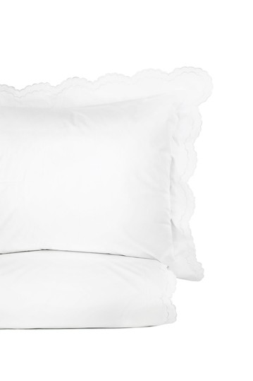 Double Scalloped Embroidered King 300 Thread Count Duvet 3-Piece Set - White Melange Home