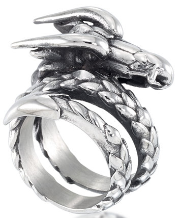 Men's Dragon Coil Ring in Stainless Steel Andrew Charles by Andy Hilfiger