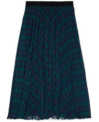 Women's Icon Tartan Pleated Midi Skirt with Pull-Up Loops Tommy Hilfiger
