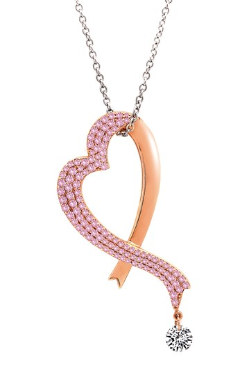 Platinum & 18K Rose Gold Plated Sterling Silver Pave Pave Pink Ribbon Heart Pendant Necklace LaFonn