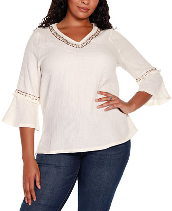 Black Label Plus Size 3/4 Sleeve Embellished Gauze Tunic Top Belldini