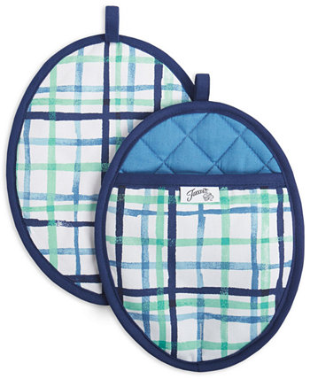 Watercolor Plaid Pot Holders, Set of 2 FIESTA