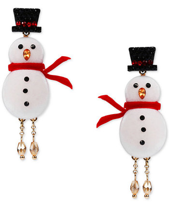 INC Gold-Tone Crystal Snowman Linear Drop Earrings, Created for Macy's INC International Concepts