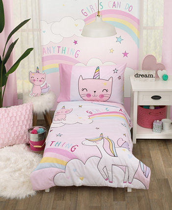 The Caticorn Girl Power 4 Piece Toddler Bedding Set Everything Kids