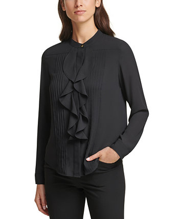 Long Sleeve Pleated Ruffle Blouse Calvin Klein