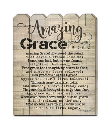 "Amazing Grace by Cindy Jacobs, Printed Wall Art on a Wood Picket Fence, 16"" x 20"" Trendy Décor 4U"