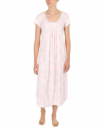 Etched Floral Long Knit Nightgown Miss Elaine