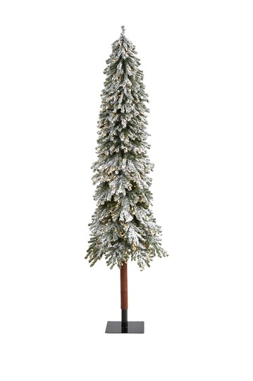 8ft. Flocked Grand Alpine Artificial Christmas Tree with 500 Clear Lights on Natural Trunk NEARLY NATURAL