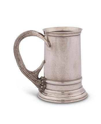 Solid Pewter English Beer Mug, Tankard with Pewter Antler Handle Vagabond House