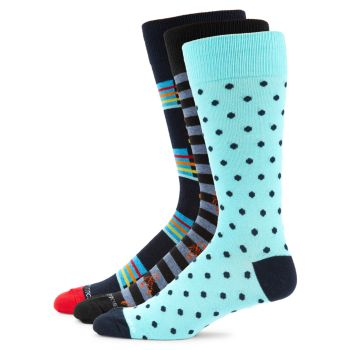 3-Pack Multicolored Crew Socks Unsimply Stitched