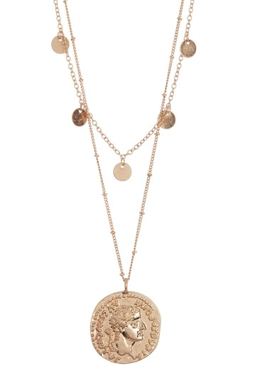 Double Layer Disc and Coin Necklace AREA STARS