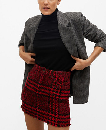 Women's Check Tweed Miniskirt MANGO