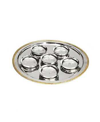 Seder Tray Mosaic Design with 6 Bowls Classic Touch