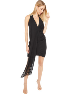 Deep V Halter Fringe Party Dress ONE33 SOCIAL