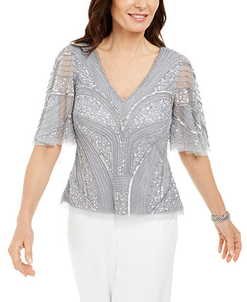 Embellished Flutter-Sleeve Top Adrianna Papell