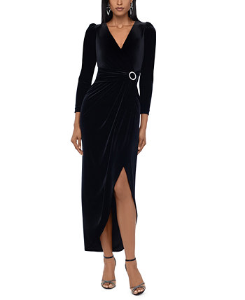 Velvet Embellished Wrap Dress XSCAPE