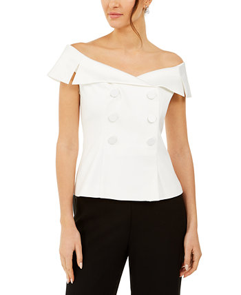 Off-The-Shoulder Tuxedo Top Adrianna Papell