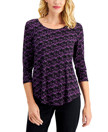 Petite Printed Top, Created for Macy's J&M Collection
