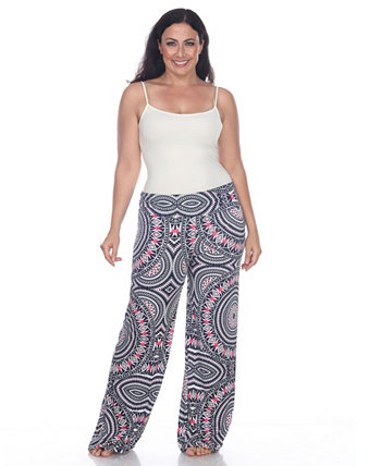Plus Size Geometric Print Palazzo Pants White Mark