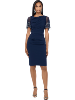 Short Ruched Crepe w/ Beaded Flutter Sleeve Betsy & Adam