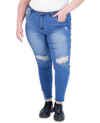 Trendy Plus Size Super-High-Rise Curvy Distressed Jeggings Gogo Jeans